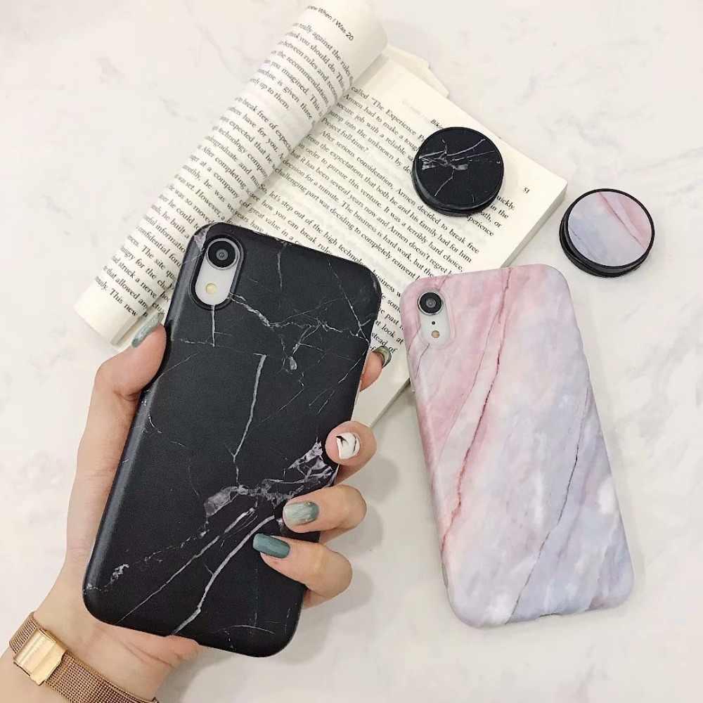 Casos de Telefone de luxo Em Mármore para iPhone 6 6 s Suporte Espera Para O iPhone X XR XS Max Tropical Deixa Macio capa de Silicone Para o iphone 7 Plus