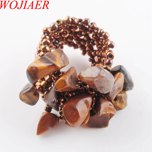 WOJIAER Natural Gem Stone Ring For Lady Labradoirte Stretch Austrian Finger Rings Jewellery PBJ301