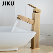 JIKU Pull Out Kitchen Sink Faucet Deck Mounted Stream Sprayer Kitchen Mixer Tap Single Handle Bathroom Kitchen Hot Cold Tap