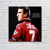 Eric Cantona Pop Art Hand painted oil painting Wall art Decor on Canvas ball Star figure poster for living room home decor