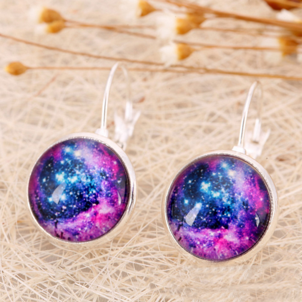 TOMTOSH Galaxy Star Universe Glass Cabochon Silver Stud Earrings 2016 New Fashion Jewelry Earrings For Women Creative Gifts E86