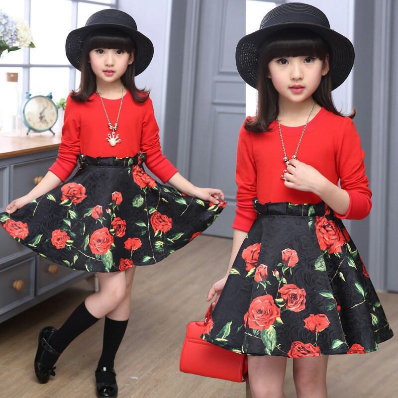 Casual Kid Fashion Trendy Flower Dress Princess Party Costume Children Clothing