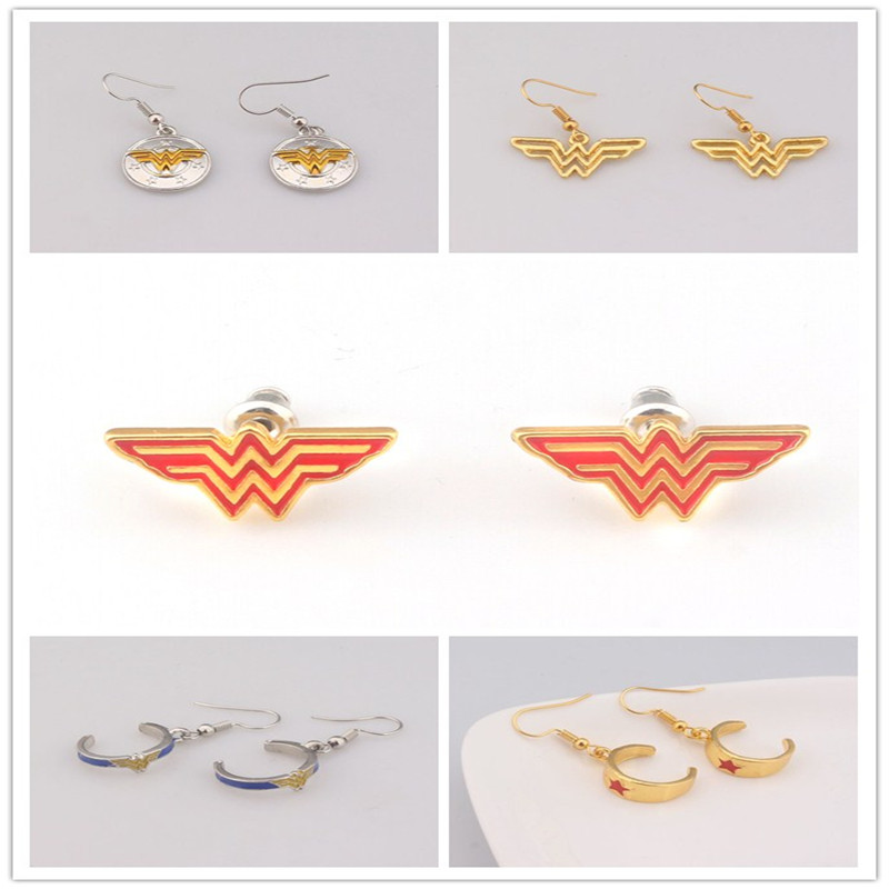Drop shipping Movie Wonder Woman W letter Tiara enamel Earrings for Women