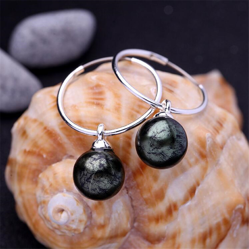 2017 Newest Blue & Green & Brown Imitation Pearls Round Earring Simple Style Silver Color Circle Drop Earrings Brand Jewelry