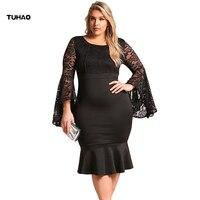 TUHAO Plus Size 3XL 4XL Sexy White Black Lace Dresses 2018 Spring Elegant Big Size Pencil