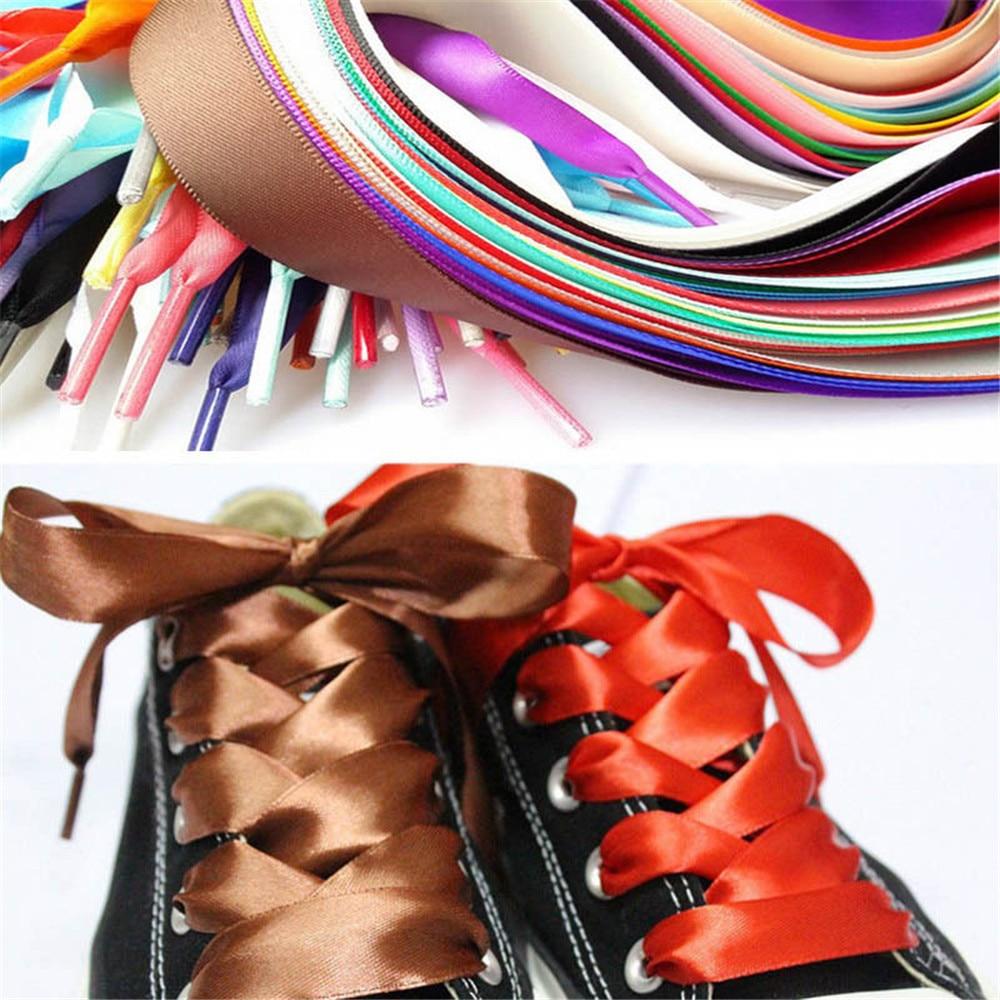 купить 2Pairs Fashion 120CM Flat Silk Ribbon Shoelaces Sneaker Sport Shoes Lace Camping Shoe Strings Growing Canvas по цене 63.24 рублей
