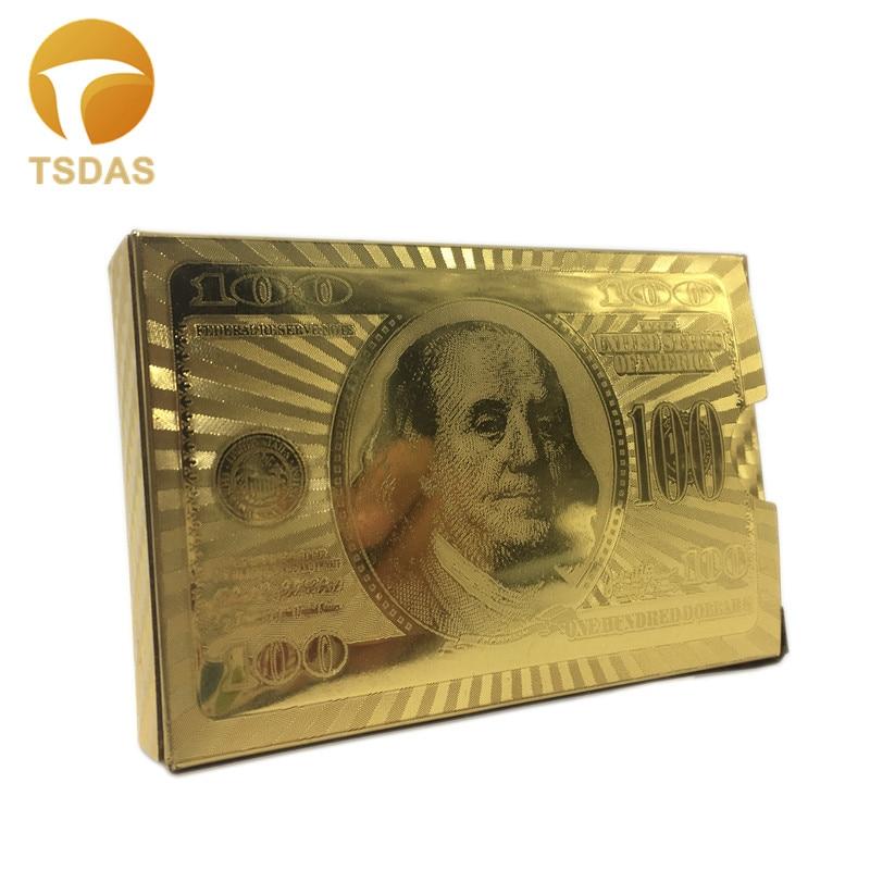 Prabangus 24 k Gold Poker kortelės dvigubas šoninis išgraviruotas - Šventės ir vakarėliai - Nuotrauka 2