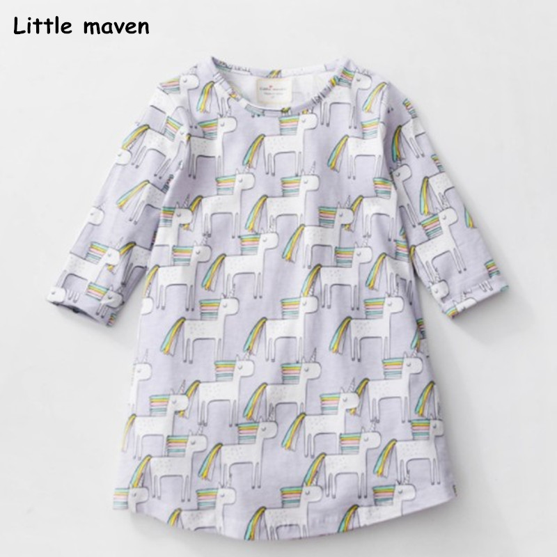Little maven 2018 new summer baby girls brand dress kids Cotton striped animal print children short sleeve dresses S0323 striped print color block cami dress