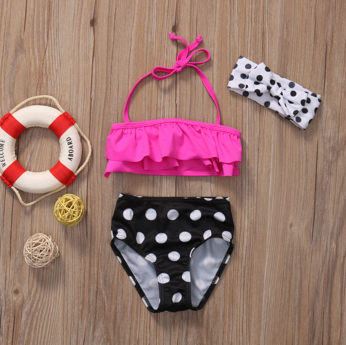 Swimsuit Kids Costume Bikini Bathing Two-Piece Polka-Dots Baby-Girl Little-Girls