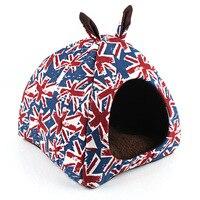 Livraison gratuite animal tapis de chenil britannique Union Jack chat chien lits Double oreille nid yourte chien maison produits pour animaux de compagnie 2 couleurs