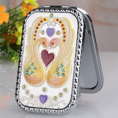 Cisne de plata rectángulo redondeado de aleación de mini portátil plegable de doble cara cosméticos/maquillaje (orange caja de embalaje)