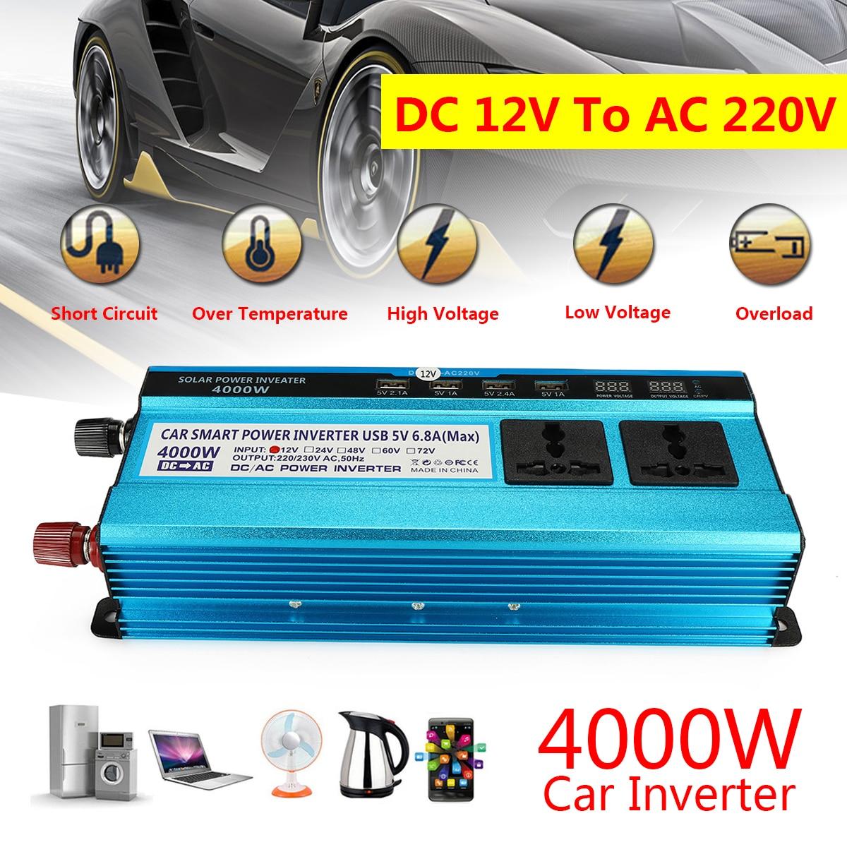 Voltage Transformer DC 12/24V to AC 220V Car LED Solar Power Inverter Sine Wave Peak 4000W USB Converter Short Circuit Protect komatsu excavator pc200 7 pump solenoid valve 702 21 57400 free shipping