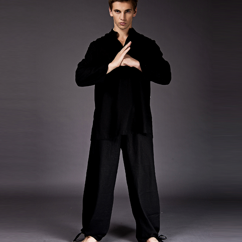 Linen Men Tai Chi Clothing Yoga Clothes Summer Exercise Suit Black Ju Shifu Meditation Suits