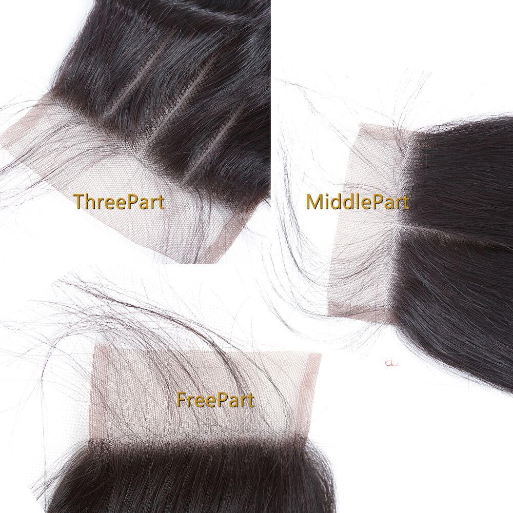 4x4 Šveitsi pits keskosa Peruu sulgemine sirge Remy inimese juuksed - Inimeste juuksed (must) - Foto 5