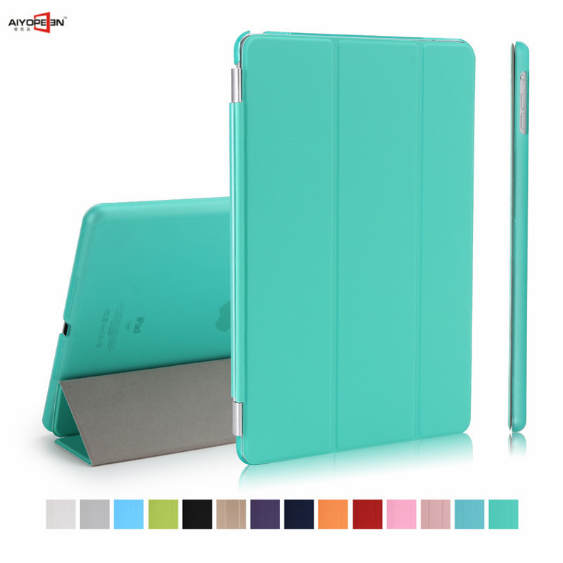 for Apple iPad Air 1 Smart cover PU Leather magnet wake-up sleep with matte transparent plastic back case flip stand sgl luxury ultra smart stand cover for ipad air 1 ipad5 case luxury pu leather cover with sleep wake up function for ipad air1