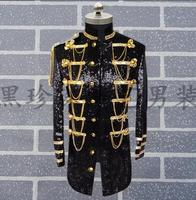 Personality Male Paillette Suits Mens Blazers Long Design Coat Military Costumes For Singers Men Sequin Blazer Homme Terno Stage