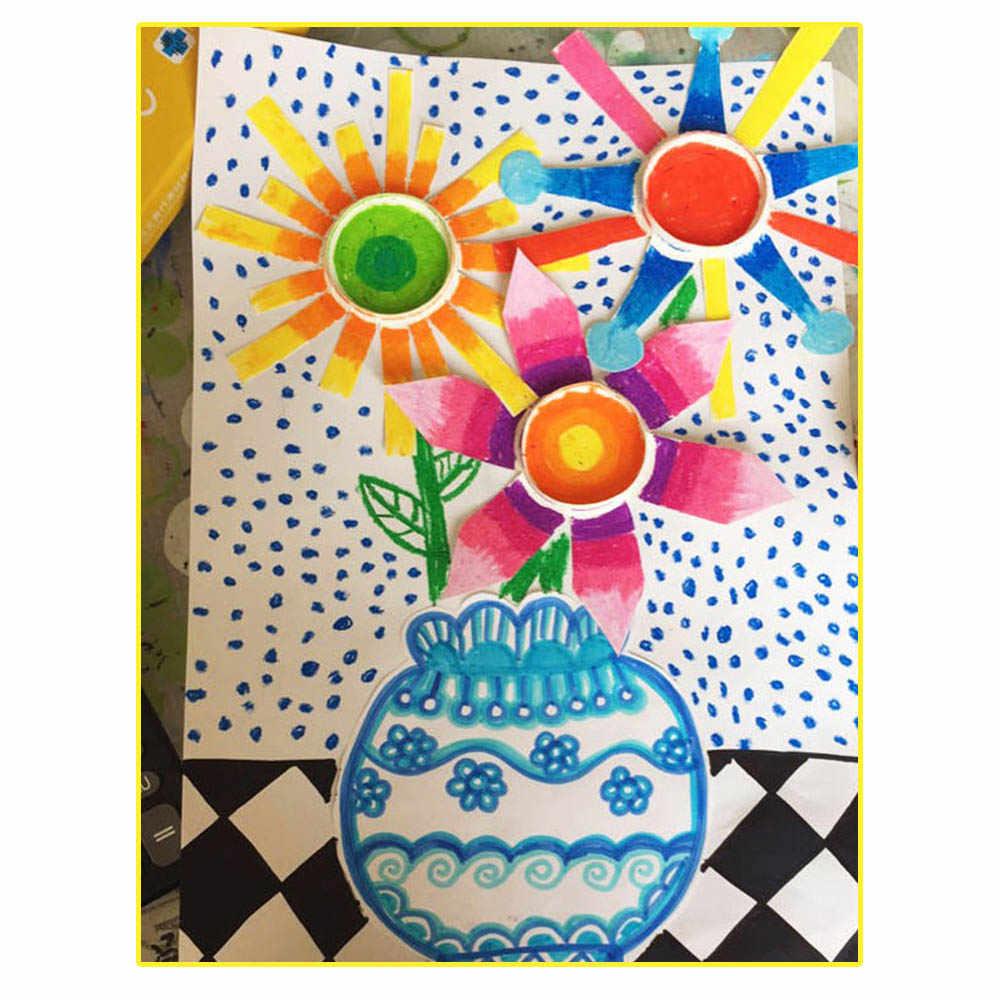 10 pçs/set Empilhar Copos de Papel DIY Arte Decoração Do Chuveiro de Bebê De Aniversário de Casamento Crianças Picnic Party Fornecimento de Talheres Descartáveis