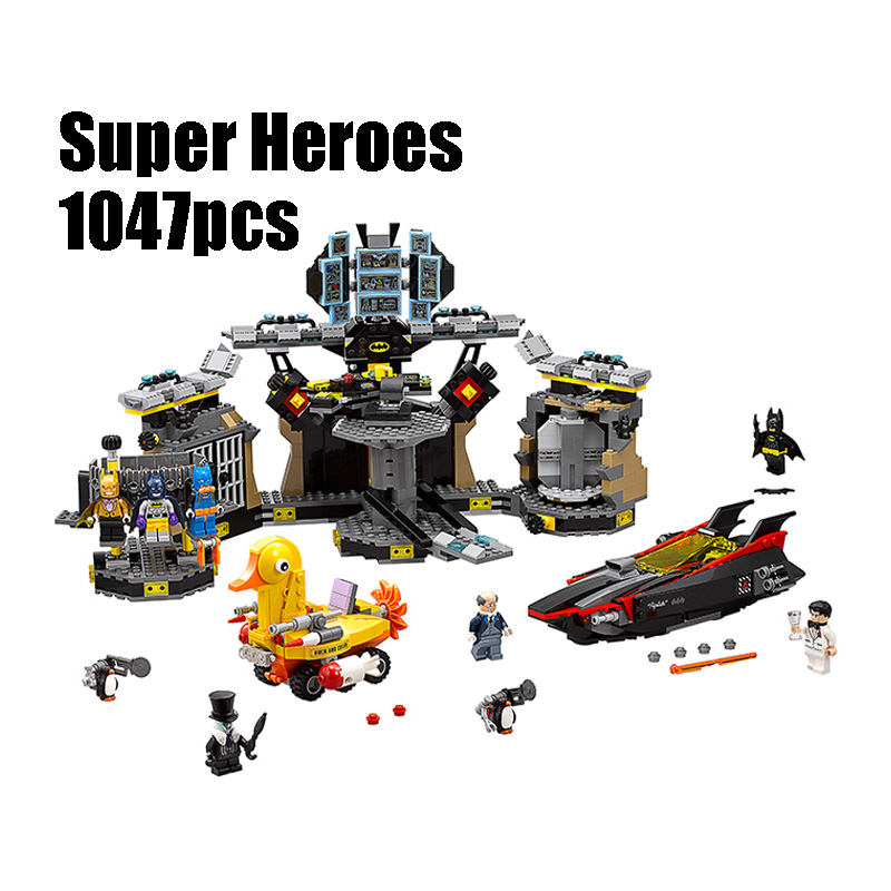 Compatible with Lego batman 70909 07052 super heroes movie blocks Batcave Break-in toys for children building blocks lepin 07052 1047pcs super heroes batman batcave break in diy model building blocks gifts batgirls movie toys compatible 70909