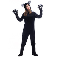 yuerlian couples cat suit halloween costumes adult women men black cat jumpsuit animal bear cosplay catsuit plus size cos