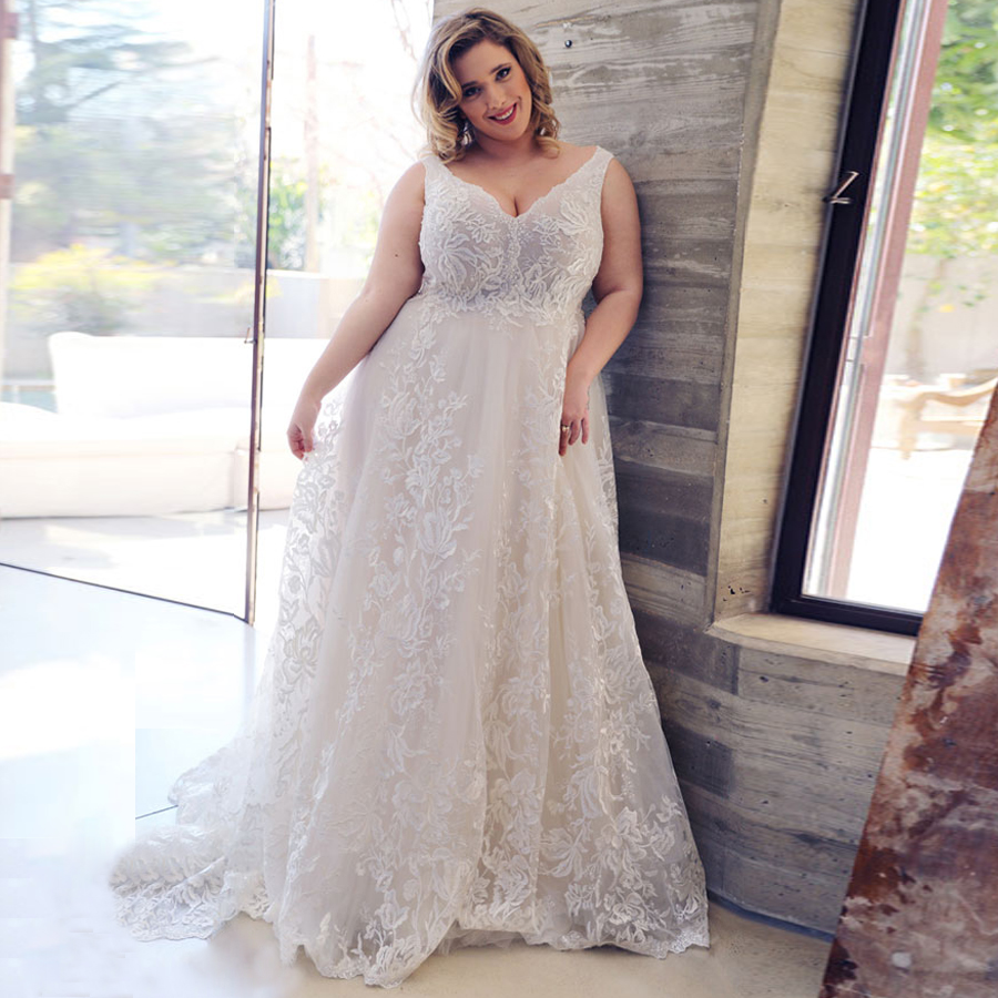 Sexy Plus Size Lace Wedding Dresses Deep V-neck Sleeveless Applique  Tulle Wedding Gowns For Bride Dress Vestido De Noiva