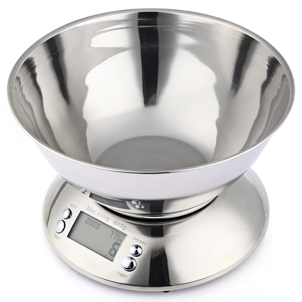 Цена за Высокое качество 5 кг емкость и 1 г отдел нержавеющей цифровой electronic кухня еда масштабе с тревогой таймер датчик температуры