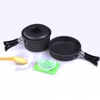 8 Pcs Aluminum Alloy Non Stick Pots Pans Bowls Outdoor Tableware Camping Hiking Military Picnic Pan
