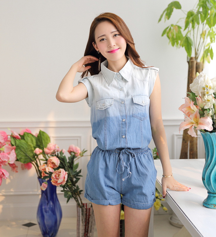 Creative Womens Ladies Sexy Short Denim Jumpsuit Jeans Romper Overall Shorts