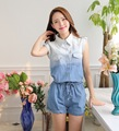 2016 Fashion new denim jumpsuit summer plus size casual women rompers shorts woman jeans overalls cotton bodysuits blue,white