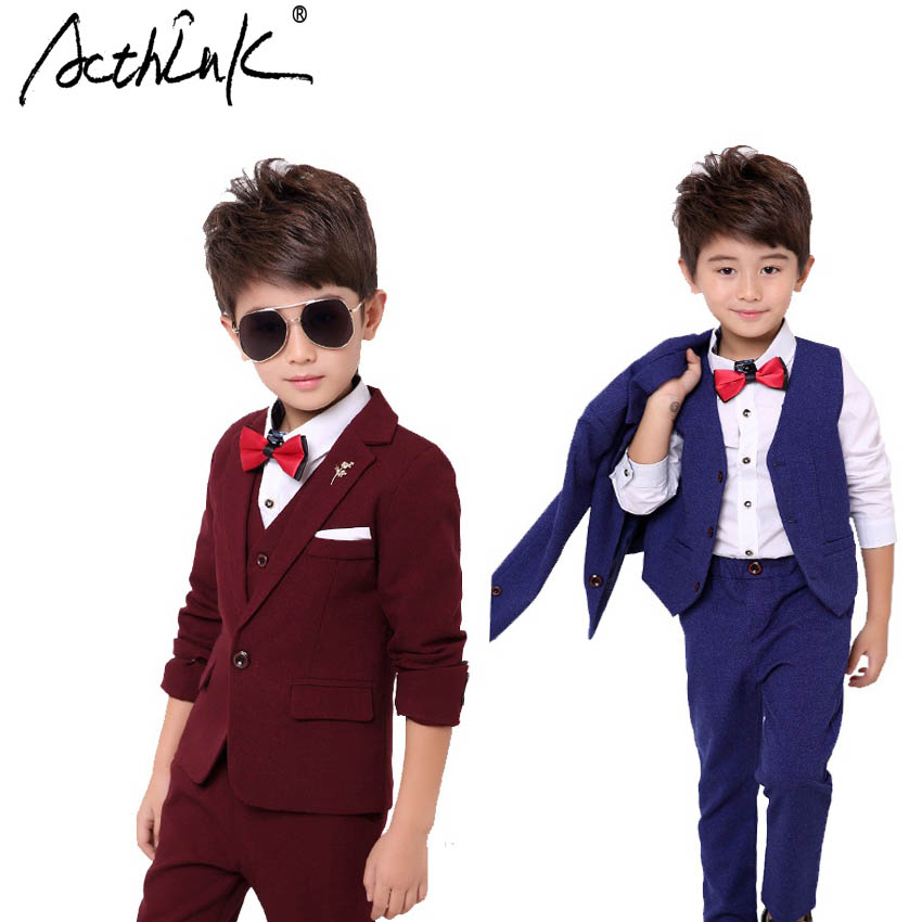 ActhInK Spring/Autumn Fashion England Style Young Boys Wedding Cotton Suit Soft and Comfortable 3Pcs Set Suit with Tie,TC125