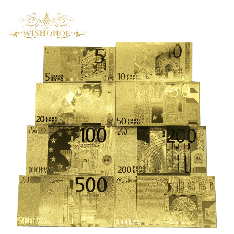 8pcs/Lot Nice European Gold <font><b>Banknote</b></font> 5 10 20 50 100 200 500 <font><b>1000</b></font> <font><b>Euro</b></font> <font><b>Banknotes</b></font> in Gold Plated Fake Paper Money For Collection image