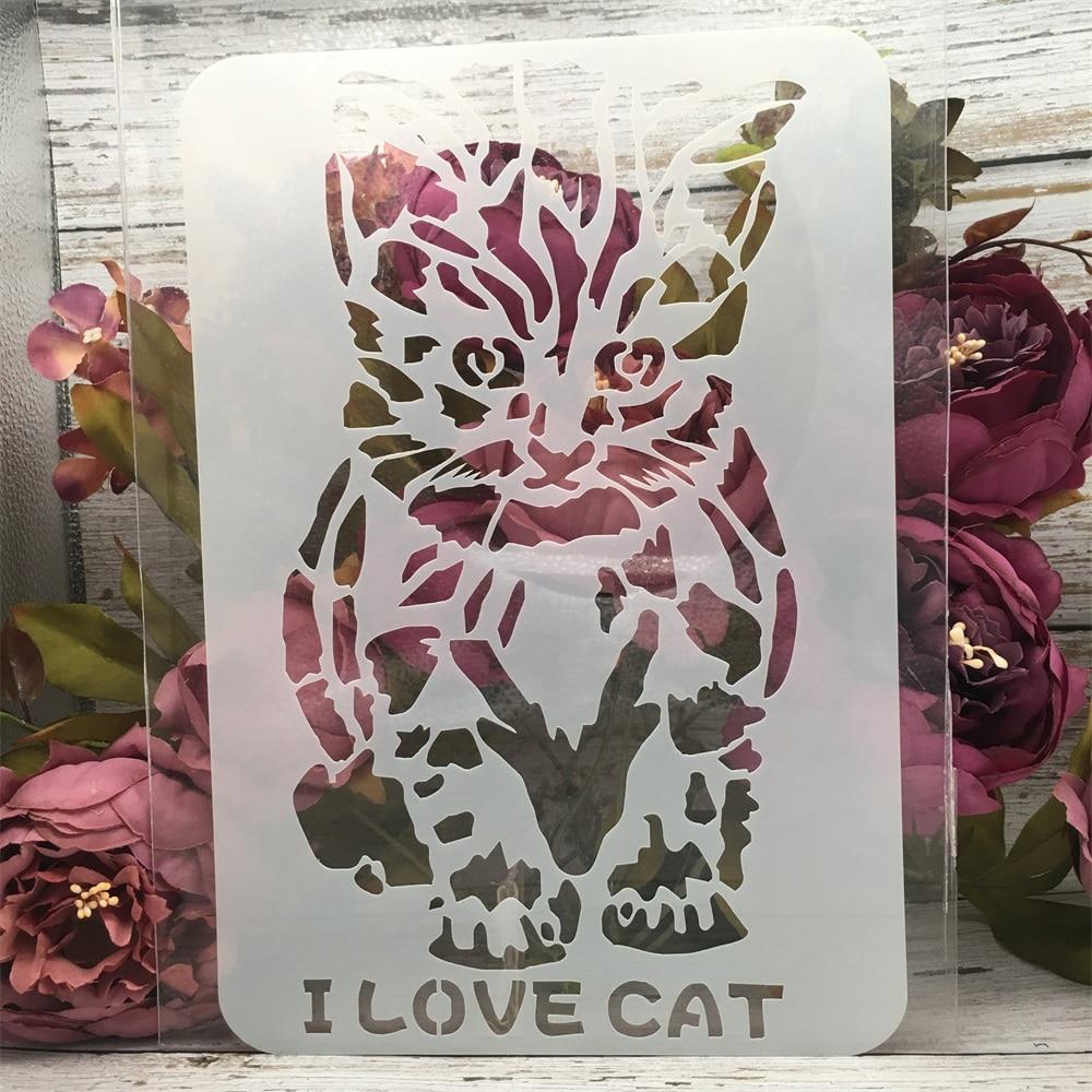 1Pcs 18*26cm Sit Down Cat Words DIY Layering Stencils Painting Scrapbook Coloring Embossing Album Decorative Card Template