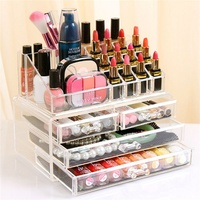 1pc Acrylic 3 Layer 4 Drawer Makeup Organizer Women Storage Box For Cosmetic Jewelry Display Rangement Maquill Color Clear