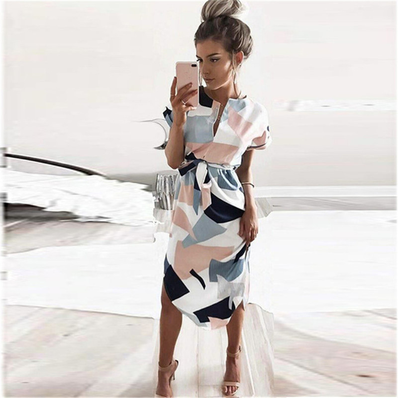 V Neck New Women Spring Summer Dress Female Fashion Geometric Print Elegant Cute Sashes Sexy Slim Dress Women Dresses Vestidos