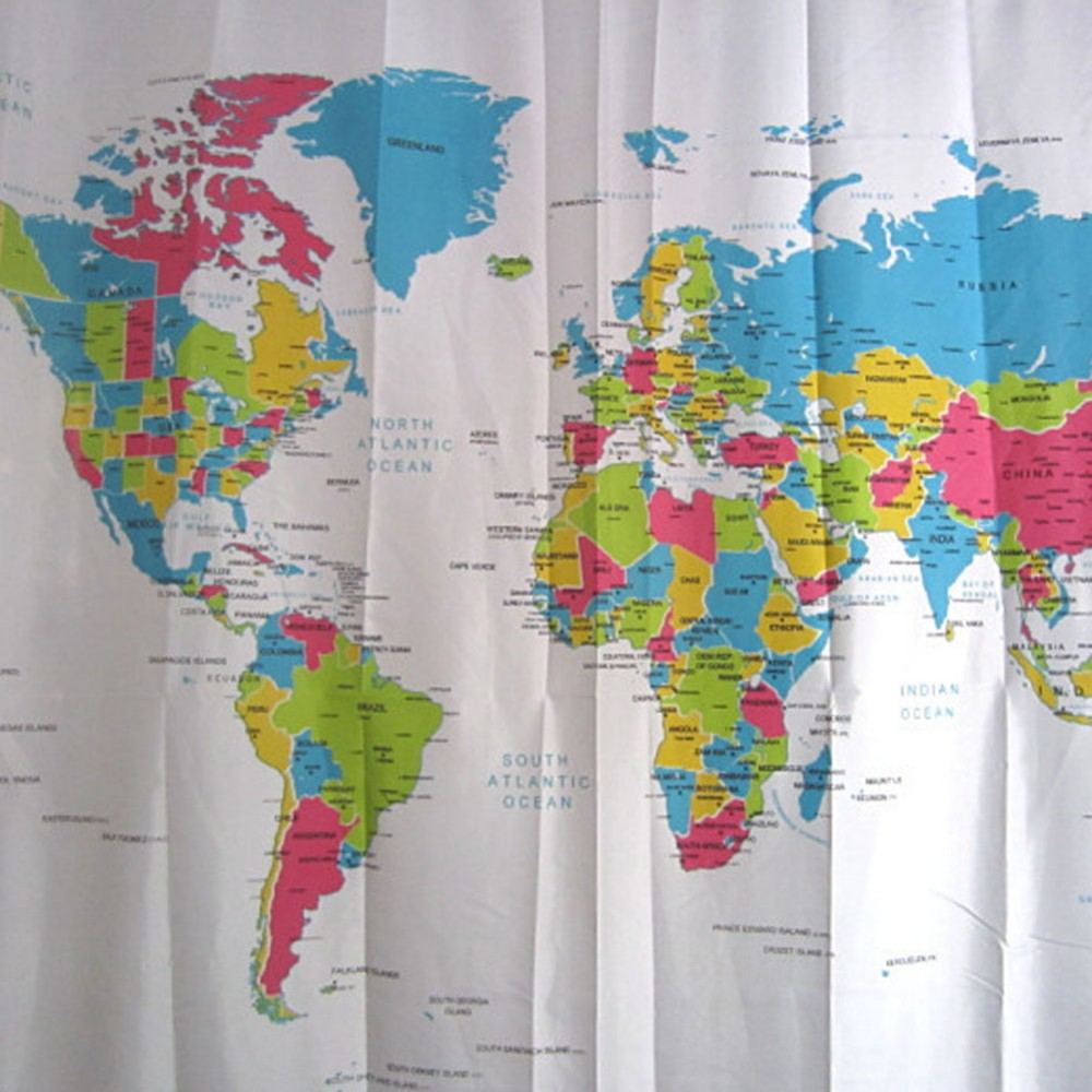New Creative Stylish World Map Bath Shower Curtain Europe Style  # Atlas Plastique