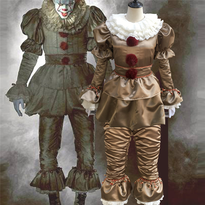b964aedaaf6b Costumi   accessori Stephen King s It Pennywise Cosplay Costumes Scary Joker  Suit Fancy Separated mask Halloween Party Adult Men Women Clown Masks