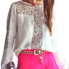 European Style Women Blouse Shoulder Lace Crochet Long Sleeve Chiffon Shirt Sexy Hollow Out Casual Patchwork Blouse Tops S-2XL chic women s hollow out long sleeve blouse