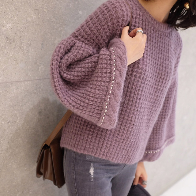 2017 Real Poncho Sale Wool Spandex Pull Women Sweater Spring New 's Trumpet Sleeves Loose Small Round Neck A Word Woman