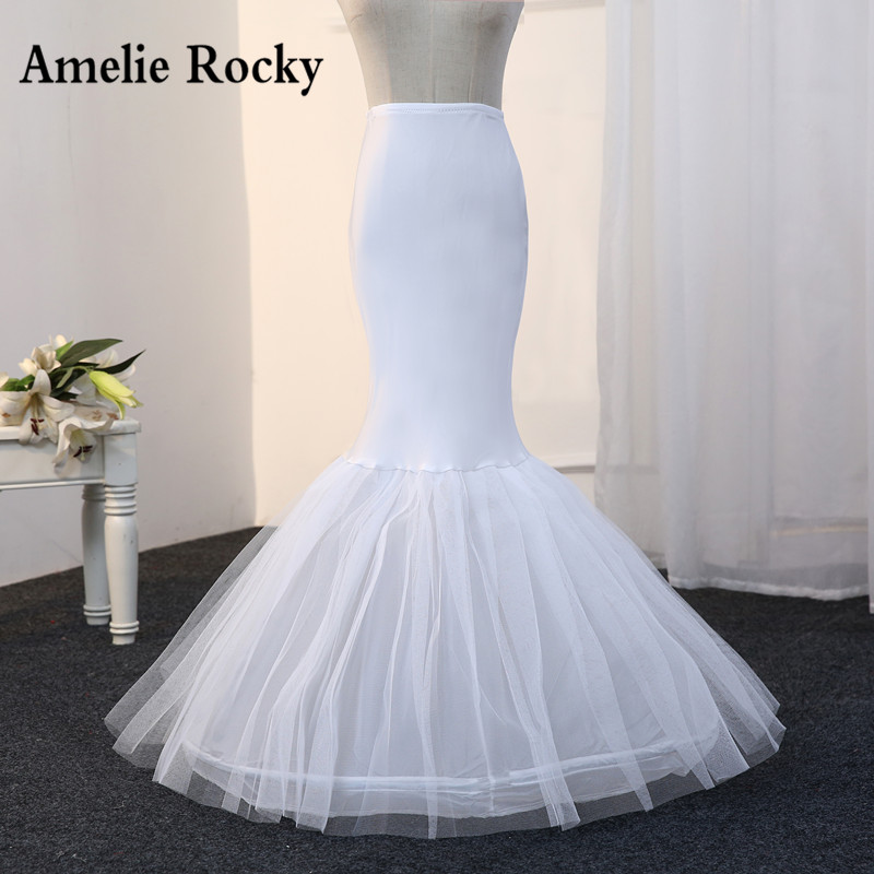 Free Shipping Mermaid Petticoat 1 Hoop Bone Elastic Wedding Dress Crinoline 2019 Bridal Petticoat Cheap