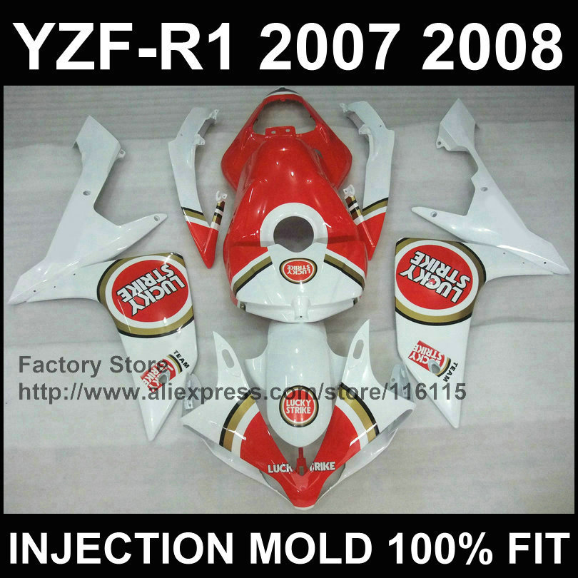 Custom Motorcycle injection road/racing fairings kit for YAMAHA YZFR1 2007 2008 YZF R1 07 08 YZF1000 Lucky strike fairing parts for yamaha yzf 1000 r1 2007 2008 yzf1000r inject abs plastic motorcycle fairing kit yzfr1 07 08 yzf1000r1 yzf 1000r cb02
