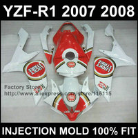 Custom Motorcycle injection road/racing fairings kit for YAMAHA YZFR1 2007 2008 YZF R1 07 08 YZF1000 Lucky strike fairing parts