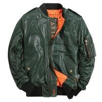 Leather Jacket Menfolk Genuine leather Flight jacket Mens Rider Outerwear Slim Motorcycle Jacket Aviator Coat TJ01