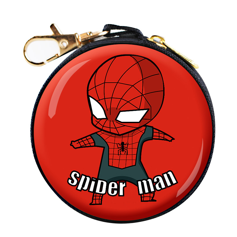 Superhero Spiderman Coin Purse Cartoon Superman Batman Ironman Round Earphone Box Kids Wallet Mini Bags Festival Christmas Gift