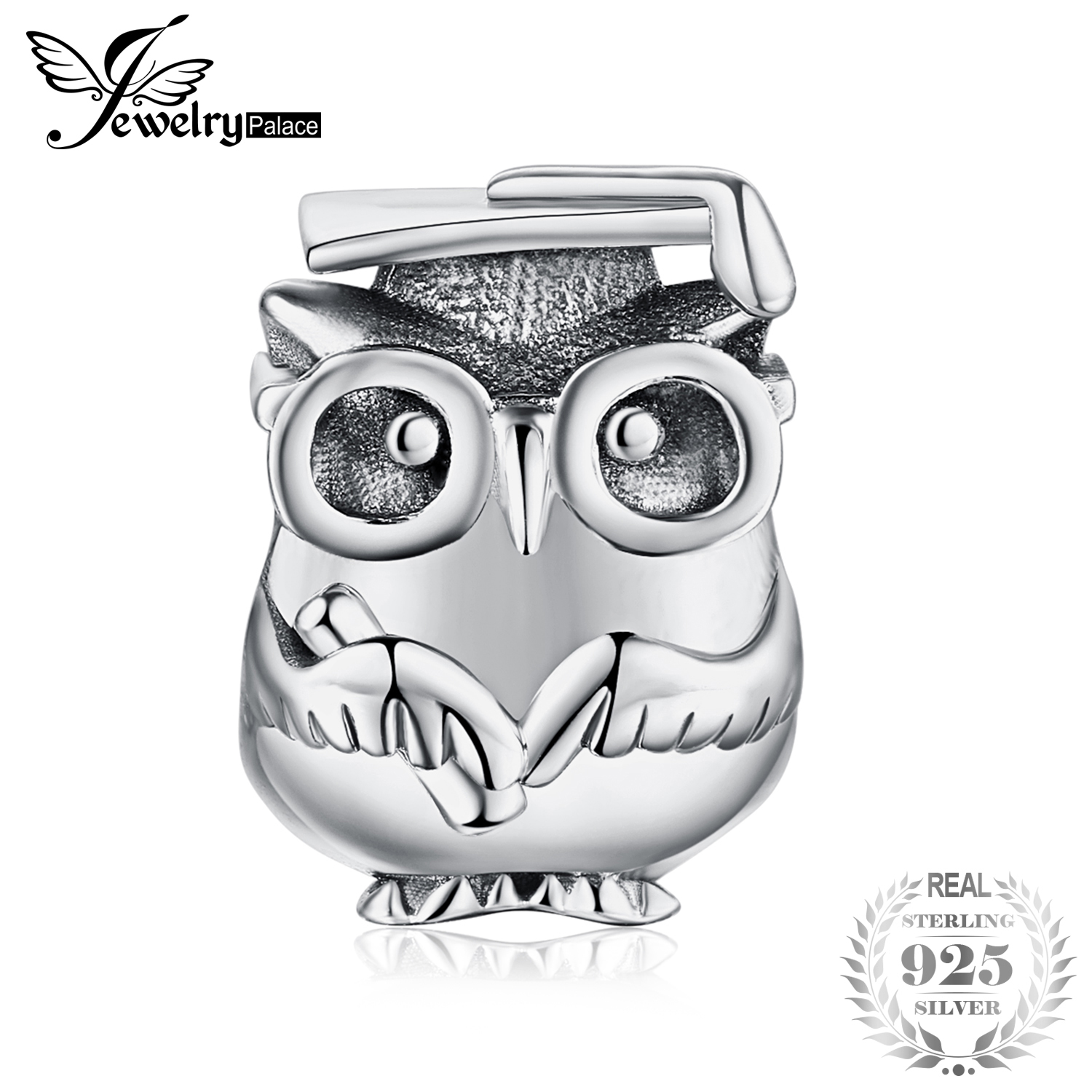 JewelryPalace 100% 925 Sterling Silver Wise Owl Wearing Glasses Beads Charms Fashion DIY Beads Bracelets For Women Fine JewelryJewelryPalace 100% 925 Sterling Silver Wise Owl Wearing Glasses Beads Charms Fashion DIY Beads Bracelets For Women Fine Jewelry