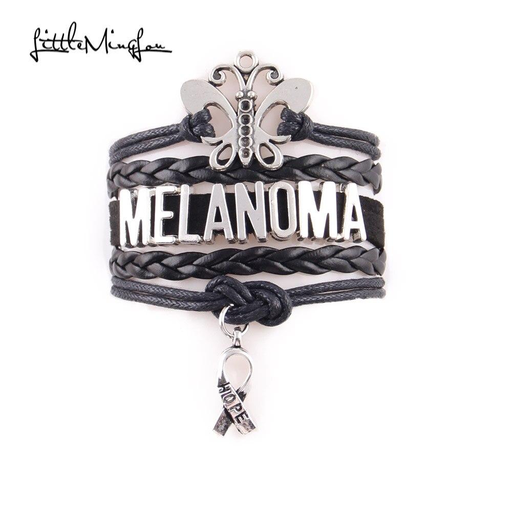 Little MingLou Melanoma Bracelet Butterfly Ribbon hope Charm Awareness leather wrap men bracelets & bangles for women jewelry men bracelet bracelets & banglesbangles for women - AliExpress