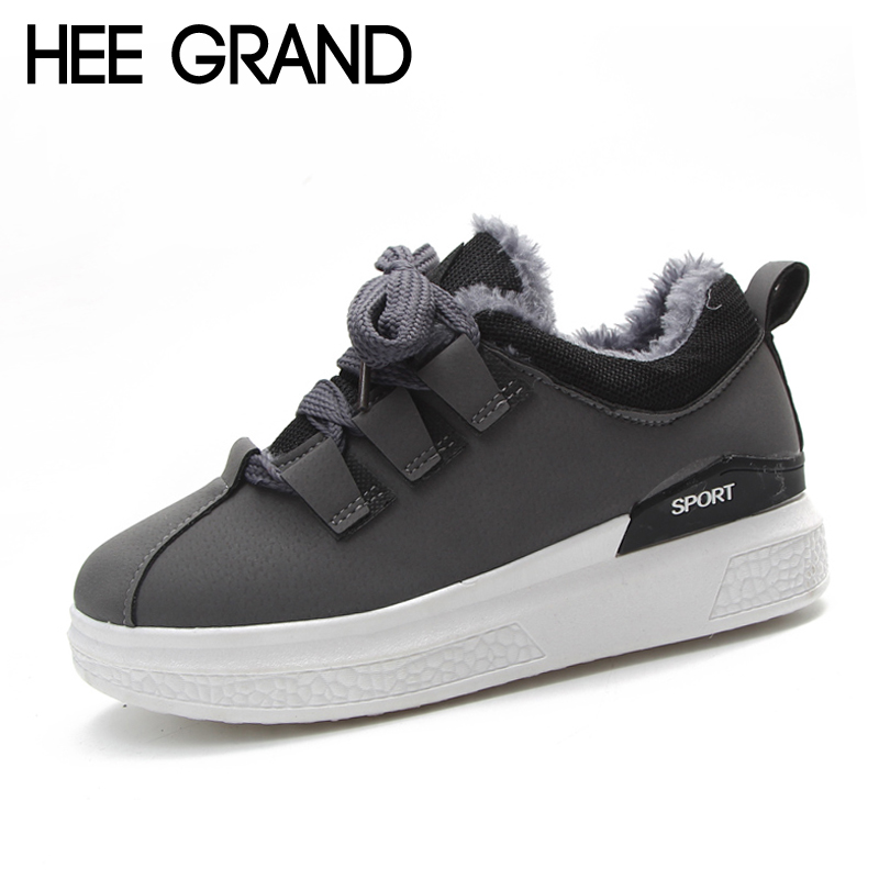 Hee Grand 2018 New Comfort Casual Woman Shoes Fur Inside Flats Lace-Up Woman Fashion Platform Casual Shoes 3 Colors XWD6234 gladiator sandals 2017 fock women summer comfort flats fashion creepers platform casual shoes woman 2 colors