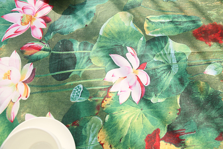 Image 5 - Chinese Classical Lotus Print Tablecloth Rectangular Lace Cotton Dining Table Cover Obrus Tafelkleed Weeding Party Home Decor-in Tablecloths from Home & Garden