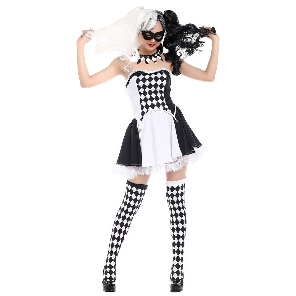 Circus Clown Suit Uniform Costume Dress+stocking+necklace+mask Cosplay Halloween clothing DS nightclub set party carnival funny