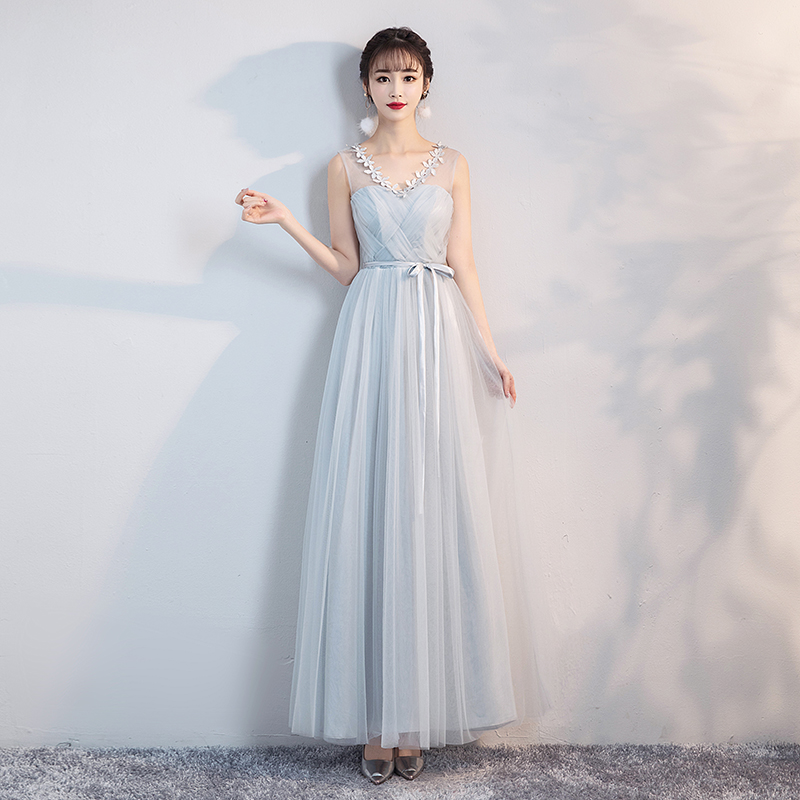 V-neck Blue Grey Bridesmaids Dresses For Women Wedding Dress Party  Ladies Long Gowns Dress Back Of Bandage