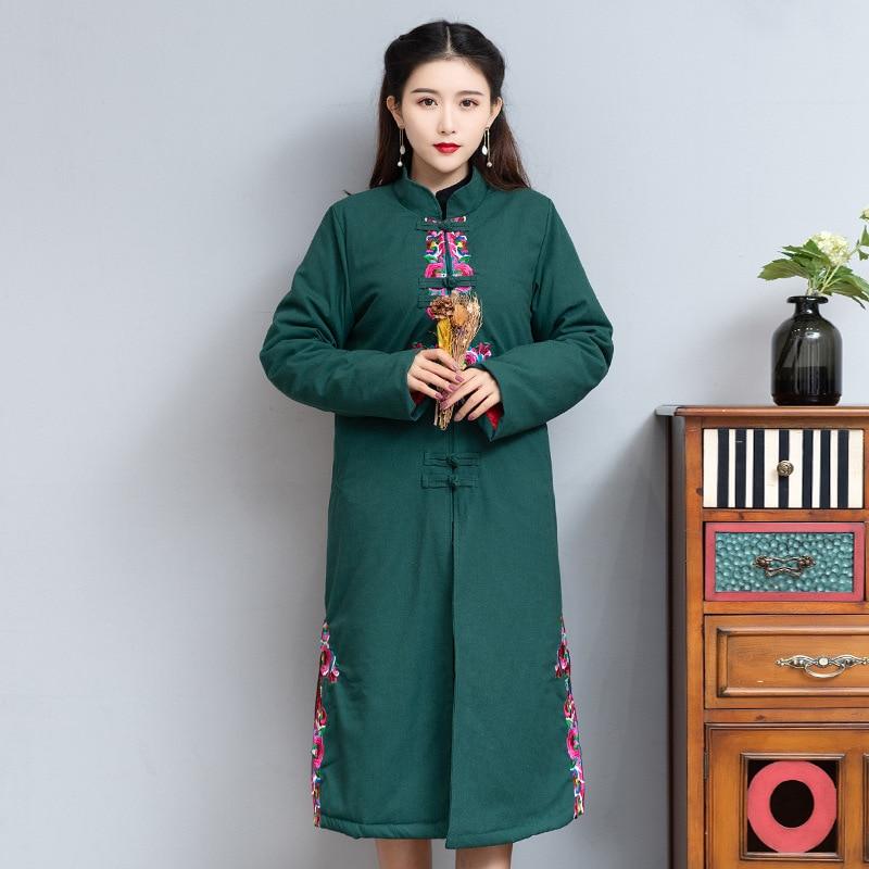 Longues Coton Collier Noir De Broderie Lourd Mince Stand Lin Veste Bouton Plat Dames Chaud vert Sections p7wAE