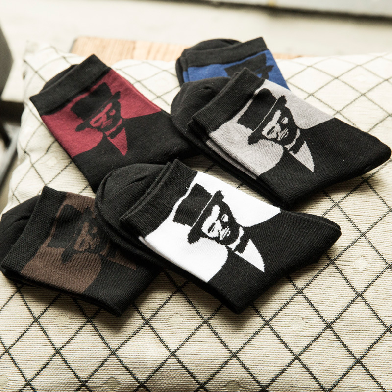 Autumn And Winter Mens Casual Gentleman Pattern Funny Crew Socks 1 Pair